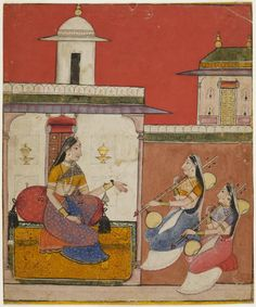 Khambhavati Ragini Page from a dispersed ragamala series Made in Arki, Himachal Pradesh, India ca. 1700