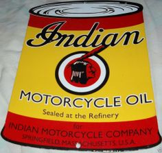 Indian Motorcycle Oil Can Sign Indian Motorcycle Oil Can Die Cut Porcelain Sign