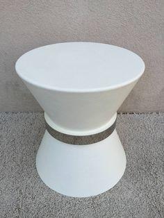 Karl Springer Style Linen Pedestal Table 2