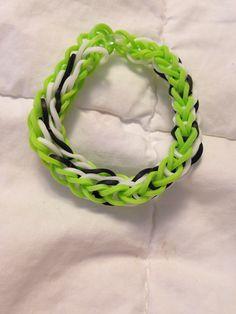 Her neon green tidal wave bracelet