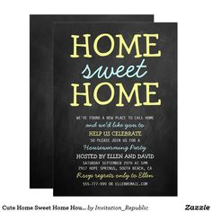 Shop Cute Home Sweet Home Housewarming Invitations created by Invitation_Republic. Housewarming Party Invitations, Personalized Invitations, Custom Invitations, Invites, New Address Announcement, Superhero Birthday Invitations, Welcome Home Parties, Business Invitation, Client Gifts