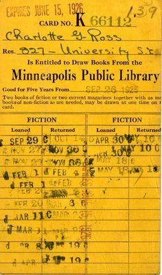 1926 library card Vintage Labels, Vintage Ephemera, Vintage Paper, Minneapolis Library, Vintage Library, Collage Techniques, Vintage School, Book Journal, Bullet Journal