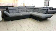 Szürke Vernon szövettel és fekete textilbőr kombinációval készült FIX design Eternity kanapé