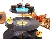 Retro Vintage Record Cupcake Stand 3 Tier by GraceFilledHands