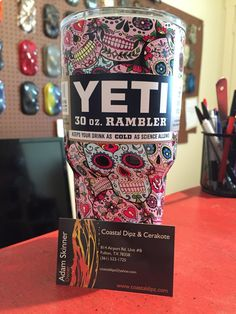 Yeti Rambler Dipped in Pink Sugar Skulls - Shipped Candy Skulls, Sugar Skulls, Sugar Skull Decor, Custom Yeti, Yeti Cooler, Yeti Cup, Pink Sugar, Skull And Crossbones, Corpus Christi