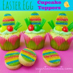 Airheads Extremes stacked/rolled out and cut out with cookie cutters attached to cookie with corn syrup. Sugartown Sweets: Easter Egg Cupcake Toppers