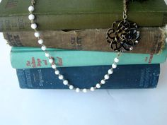 Necklace made from vintage jewelry parts