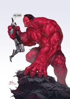 #Red #Hulk #Fan #Art. (Red Hulk vs Deadpool) By:In-Hyuk Lee. (THE * 3 * STÅR * ÅWARD OF: AW YEAH, IT'S MAJOR ÅWESOMENESS!!!™)[THANK Ü 4 PINNING!!!<·><]<©>ÅÅÅ+(OB4E)