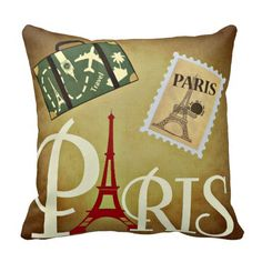 Paris Throw Pillow Chic Wedding, Wedding Gifts, Paris Gifts, Retro Gifts, Paris Theme, Custom Pillows, Pillow Design, Anniversary Gifts, Personalized Gifts