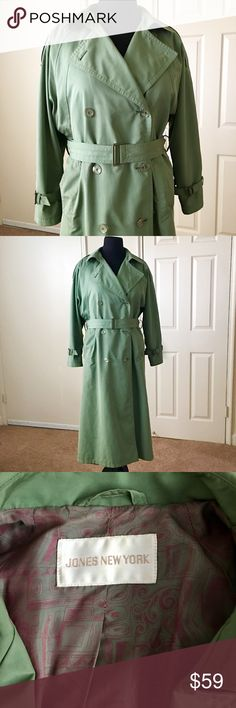"""🍁HP🍁Jones New York Trench Coat 🍁HP🍁Jones New York Olive Green Women's Trench Coat. Exterior is an Ultra Soft Cotton Blend. Fully Lined w/Beautiful & Extremely Silky Fabric. No Size Tag on Coat but, fits a 14/16 or L/XL. Measurements: Chest 52"""", Waist 49"""", Hips 52"""" & Length 43.5""""                                                          🍁HP - Fall Fashion by @karisrenee🍁            🔺Side Slit Hip Pockets                                            🔺Adjustable Sleeve…"""
