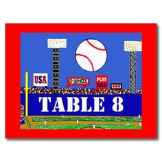 Cool Baseball Sport Bar Mitzvah Table Number Card Postcard