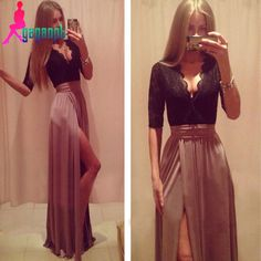 Find More Prom Dresses Information about Prom Dresses 2015,Women Dress Sexy V Neck Two Piece Prom Dresses,Three Quarter Sleeve Prom Dress White Blue Green Brown In Stock,High Quality e painting,China e honda Suppliers, Cheap e saddle from Lucky Godess Wedding Dress on Aliexpress.com