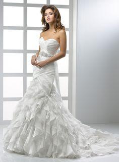 A-ligne sweetheart sans bretelles robe de mariée en organza