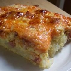You'll find everything you want for breakfast-potatoes, eggs, cheese and ham-in this satisfying casserole. It can be made the night before and kept in the refrigerator.
