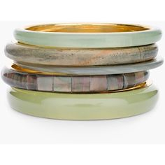 Chico's Olivia Bangles (60 AUD) ❤ liked on Polyvore featuring jewelry, bracelets, fatigue, bangle bracelet, bangle jewelry, hinged bracelet, gold tone jewelry and green jewelry