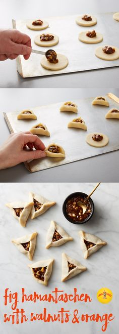 Hamantaschen is a traditional buttery cookie filled with a variety of jams, and is traditionally associated with the Jewish holiday of Purim. Traditional Jewish cookies are dressed up with figs, walnuts and a hint of orange. Cookie Desserts, Just Desserts, Cookie Recipes, Dessert Recipes, Jewish Cookies, Buttery Cookies, Jewish Recipes, Cupcakes, Holiday Recipes