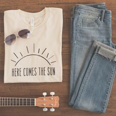 Here Comes the Sun Shirt, Womens Shirt, Here Comes the Sun, Women's... ($26) ❤ liked on Polyvore featuring tops, t-shirts, hippy shirts, slim fit t shirts, hippie tops, slim tees and tee-shirt