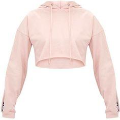Petite Rose PLT Cropped Hoodie ($28) ❤ liked on Polyvore featuring tops, hoodies, petite tops, hoodie crop top, cropped hoodie, pink rose tops and pink hoodie