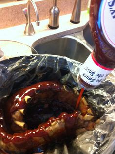 I'm going to use my dry rub with the soda bath and then use the sweet and spicy BBQ from Front Range BBQ in town (Colorado Springs) or...ooh...or the Devil's Spit BBQ from Famous Dave's.