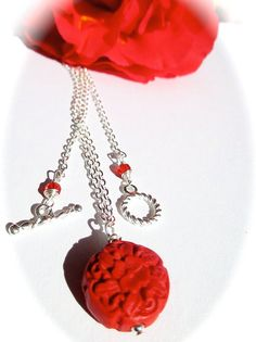 SALE FOR VALENTINE'S DAY  Visit shellb143.etsy.com  Valentine red cinnabar carved necklace SALE by ShellB143 on Etsy, $18.75