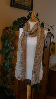 Long Fringed Scarf by BallAndHook on Etsy