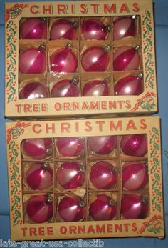 Vtg 1950s Lot 24 Pink Stripe Mercury Glass Christmas Ornaments Made in Poland | eBay