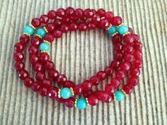 Gorgeous Shade of Jade, Handcrafted Bracelet Set | Stones in Harmony. Put some spice into your wardrobe with these amazing colors. These bracelets feel so comfortable and slip on and off in seconds, even three in a row.