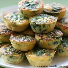 Miniature Crustless Spinach and Feta Quiches