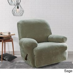 Sure Fit Royal Diamond Recliner Stretch Slipcover Sage Green Slipcovers