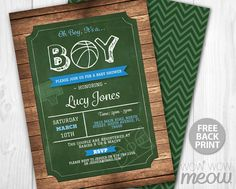 Basketball Baby Shower Invitations It's a Boy Invite by wowwowmeow