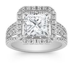 Square Double Halo Diamond Engagement Ring. Shown with princess cut diamond. Available with your choice of diamond, sapphire or ruby.