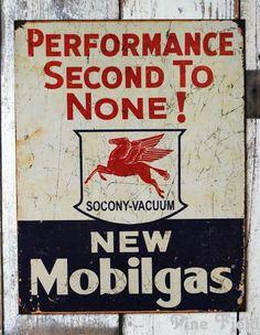 vintage advertizing metal signs | VINTAGE TIN SIGN/Mobil Gas - PINE FIELD