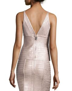 Sleeveless V-Neck Metallic Bandage Top, Rose Gold