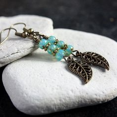 Turquoise Czech Glass Bead Earrings  A.882 by carolinascreations, $5.00