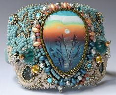 Turquoise Sunset Beaded Cuff