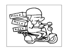 Pizza Coloring Page, Food Coloring Pages, Bear Coloring Pages, Coloring Pages For Kids, Coloring Rocks, Pizza Chef, Make Your Own Pizza, Pizza Delivery, Pizza Dough