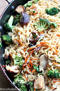 Ramen Vegetable Stir Fry - The Rustic Willow A simple stir fry made with ramen noodles, assorted vegetables and a delicious Asian sauce. Ramen Recipes, Asian Recipes, Vegetarian Recipes, Dinner Recipes, Cooking Recipes, Healthy Recipes, Ethnic Recipes, Meal Recipes, Vegan Meals