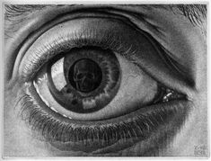 Eye - M.C. Escher with the exception of the skull in the pupil, it's a really great drawing! Description from pinterest.com. I searched for this on bing.com/images