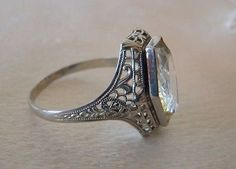 BEAUTIFUL OSTBY BARTON 10K WG FILIGREE RING W COFFIN CUT LIGHT YELLOW CITRINE