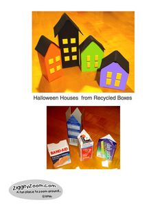 DIY Spooky Halloween Houses from Recyclables ... easy Halloween craft project.| Ziggity Zoom