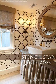 Large Moorish Trellis Stencil On bathroom wall home decor by Royal Design Studio via Anything But Plain