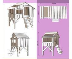 Lit enfant Cabane en bois - Mezzanine ou superposé