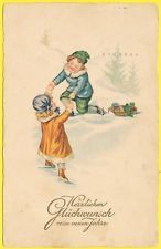 cpa FANTAISIE ENFANTS DANS LA NEIGE CHANCE TREFLE CHILDREN WINTER LUCK