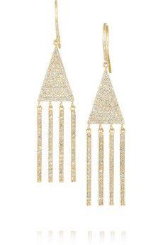 Jennifer Meyer 18-karat gold diamond triangle earrings    NET-A-PORTER