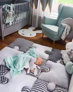 Do It Yourself baby room and baby area decorating! Lots of baby room design ideas! Baby Bedroom, Baby Boy Rooms, Baby Boy Nurseries, Kids Bedroom, Room Baby, Small Baby Rooms, Mint Baby Rooms, Baby Room Green, Baby Room Curtains