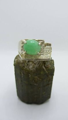 Vintage Chrysophase Sterling Silver ring, size 10. by FierStaarGems on Etsy