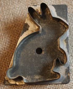 Primitive Flat Back Tin Rabbit Cookie Cutters Soldered Strap Handle Folk Art Vtg