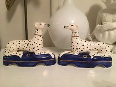 Vintage Dalmatian Dog bookends ceramic dog figurines Fitz and Floyd style Dalmation Whippet Greyhound Ceramic Dog Figurines