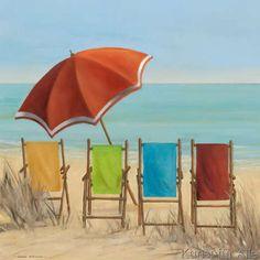 Strandkorb malen  Strandkörbe weiss rot gemalt 50 x 50 x 4 cm   Strandkorb ...