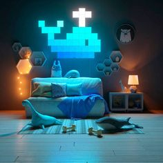 Nanoleaf Canvas panels are the future art weve all been waiting for! Smart Kit, Smart Home, Nanoleaf Panels, Nanoleaf Designs, Nanoleaf Lights, Gaming Room Setup, Canvas Designs, Lampe Led, Game Room